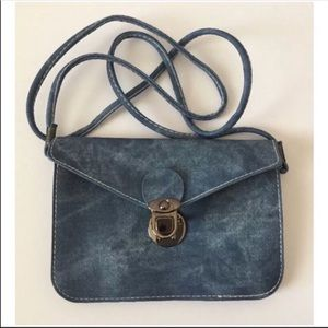 Blue Vegan Leather Small Crossbody Bag